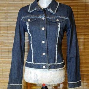 Dark Wash Raw Edged Denim Jacket